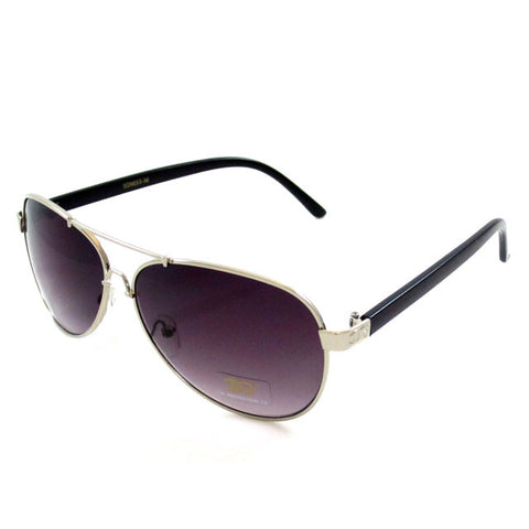 Sunglass Club Aviator Sunglass 9033 Series for Silver with Black Frame Sides and Purple Tint Lens 9033-SILVER-BLACK-PURPLE-B