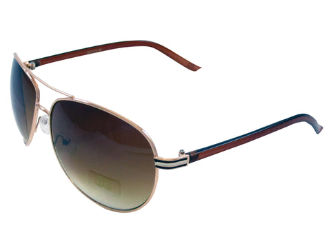 Sunglass Club Aviator Sunglass 9039 Series for Gold with Black/White Trim/Brown sides and Brown Tint Lens 9039-GOLD-BLACKWHITE-BROWN-BROWN-B