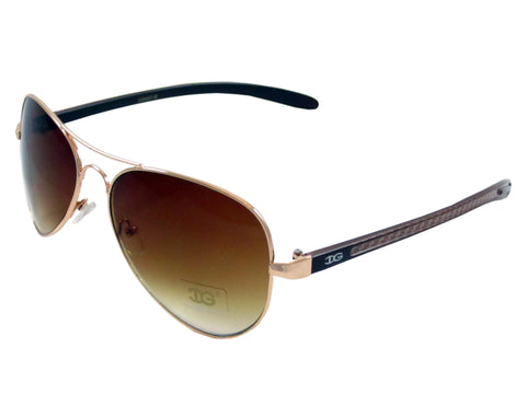 Sunglass Club Aviator Sunglass 9065 Series for Gold with Brown Checkered Frame Sides and Brown Tint Lens 9065-GOLD-BROWNCHECKERED-BROWN-B