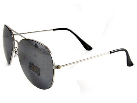 Sunglass Club Aviator Sunglass 9100 Series for Silver with Black Frame Sides and Gray/Mirror Lens 9100-SILVER-BLACK-GRAYMIRROR-B