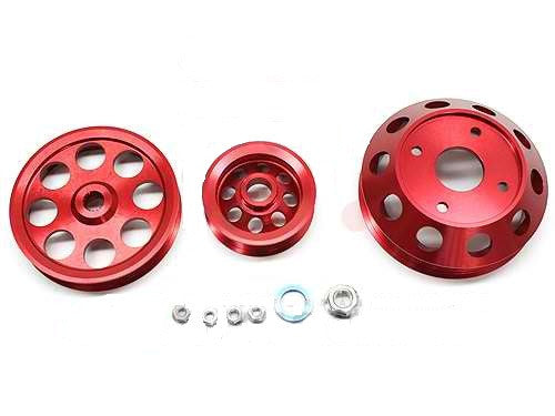 Megan Racing Crank Pulleys for 89-94 Nissan 240SX S13 Light Weight Pulley Red MR-PY-NS13SR20-R
