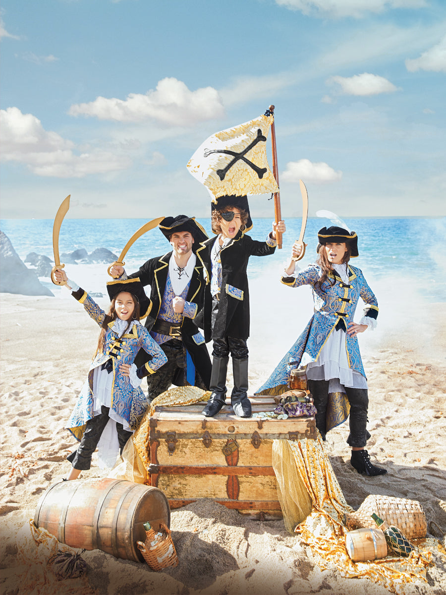 Blue Brocade Pirate Costume for Boys