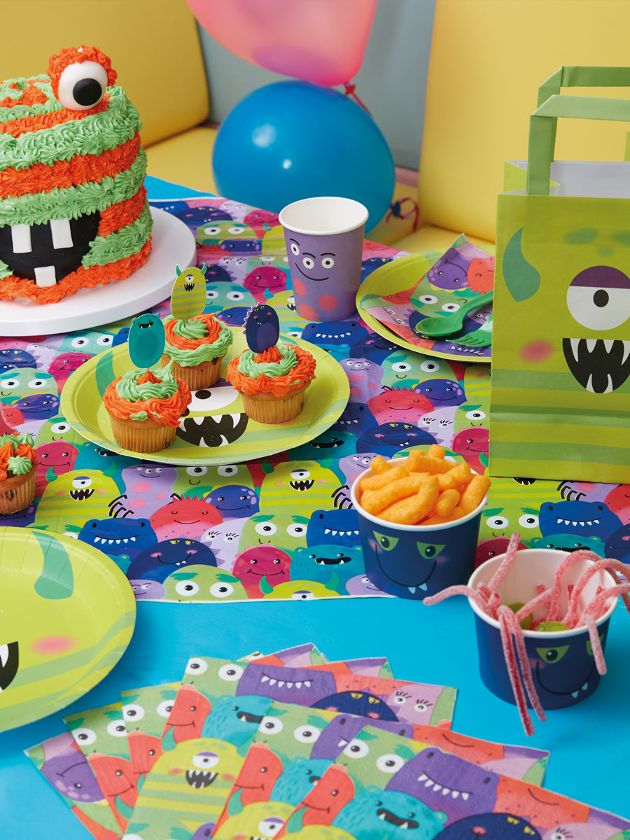Halloween Tableware, Monster Plates, Purple x8