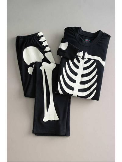 Adults Black Glow-in-the-Dark Sleepy Skeleton Pajamas