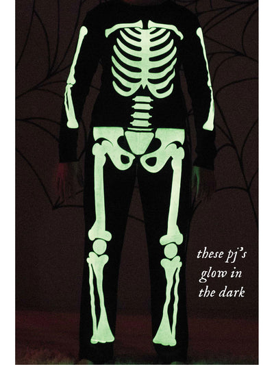 Adults Black Glow-in-the-Dark Sleepy Skeleton Pajamas  bla alt2