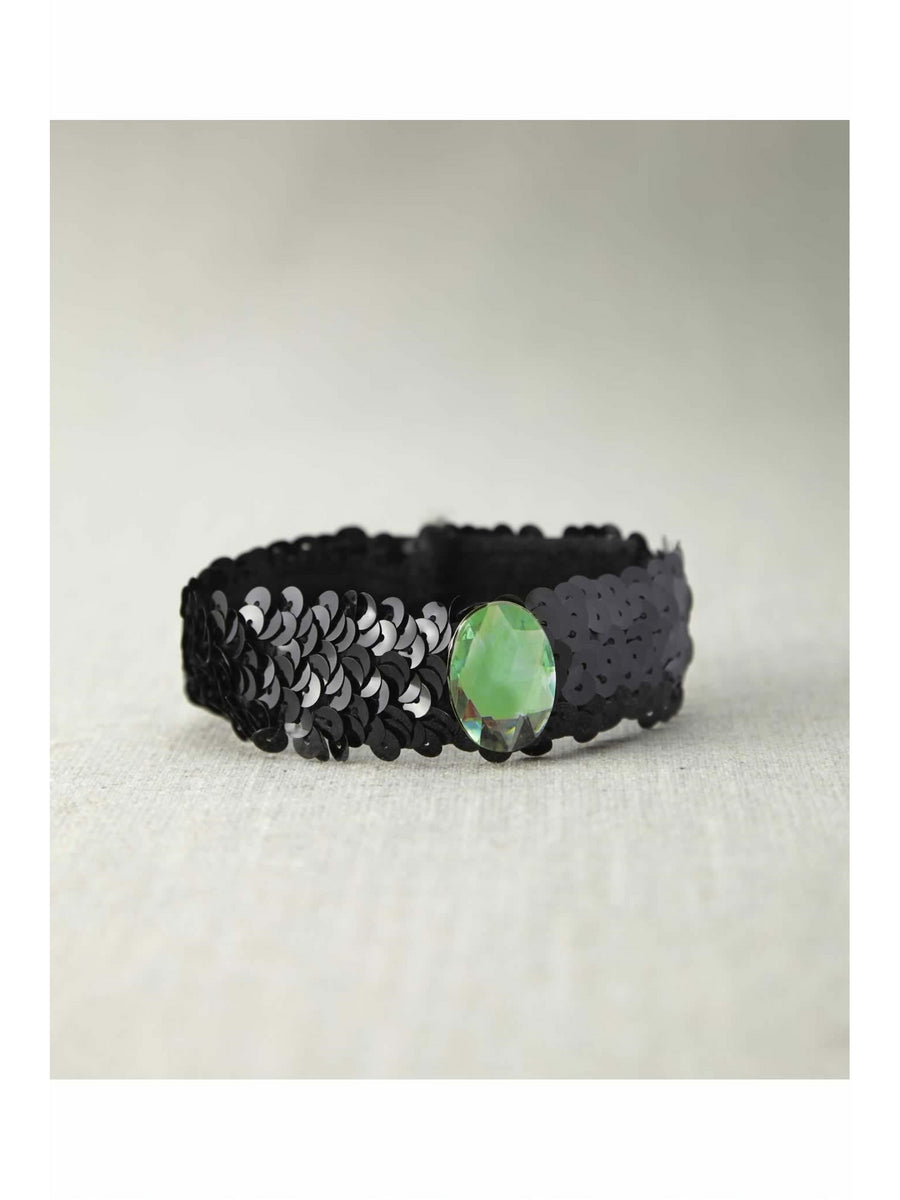 Black Sequin Choker With Green Stone