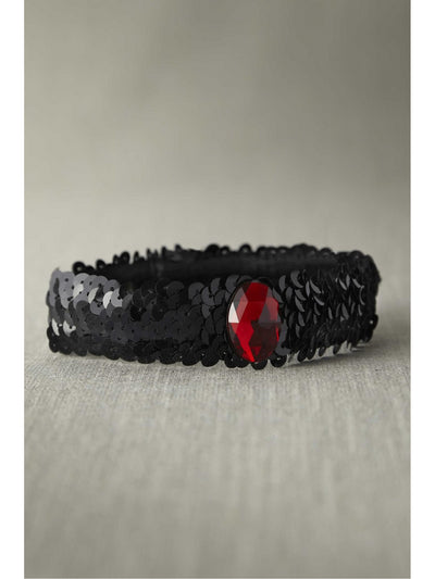 Black Sequin Choker With Red Stone