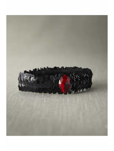 Black Sequin Choker With Red Stone  nc 1