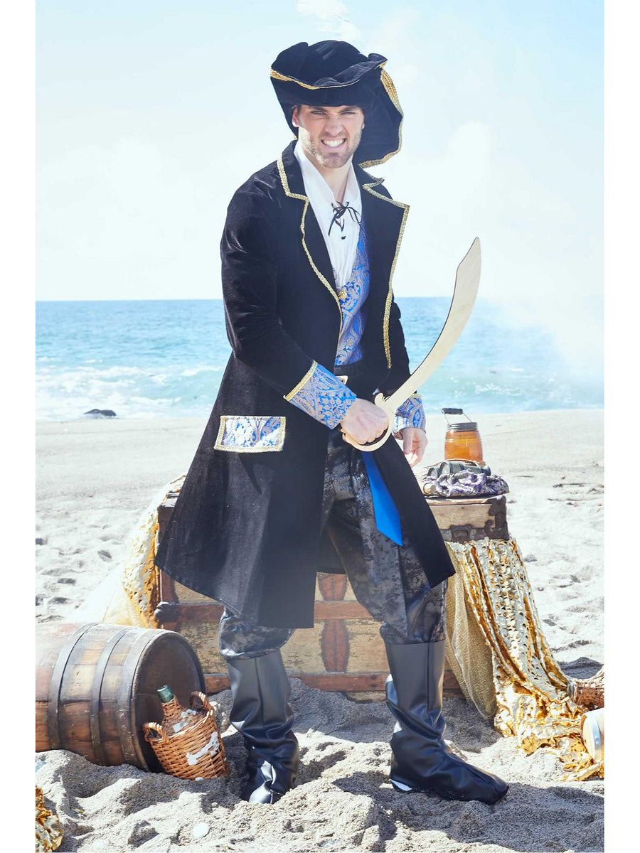 Blue Brocade Pirate Costume for Men