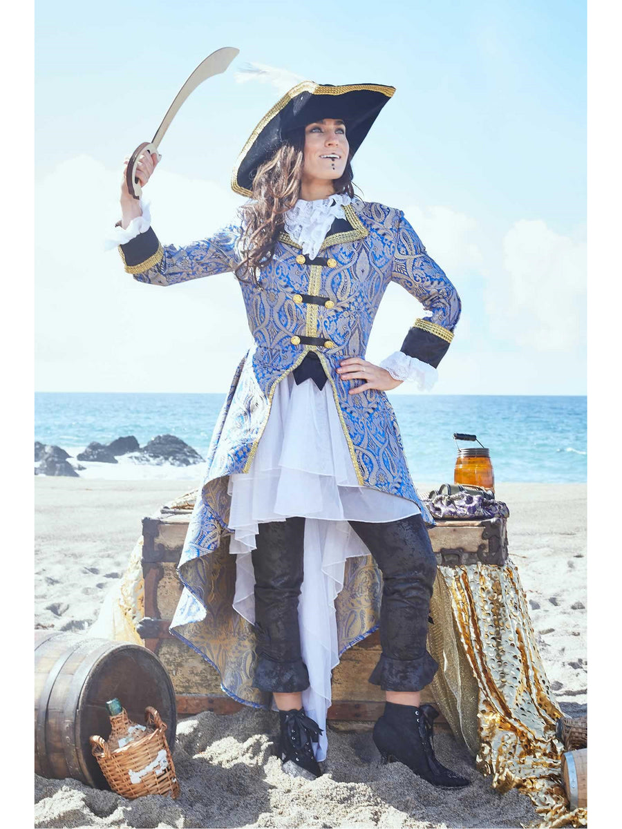 Blue Brocade Pirate Costume for Women