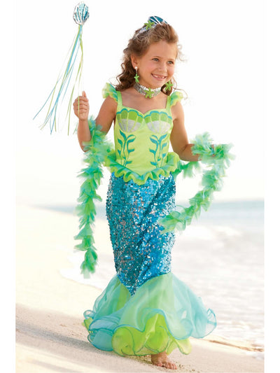 Blue Fairytale Mermaid Costume for Girls  blu alt1
