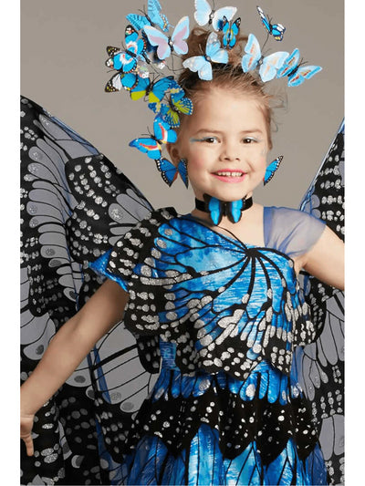 Blue Monarch Butterfly Costume for Girls  blu alt2