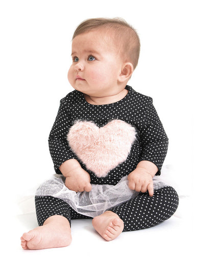 Blushing Heart Top & Tutu Leggings for Baby
