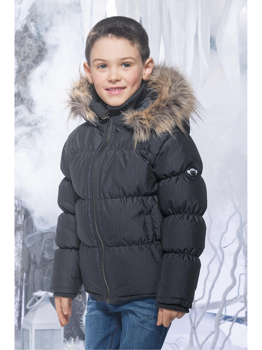 Boys Basecamp Faux-Fur Hooded Puffer Coat
