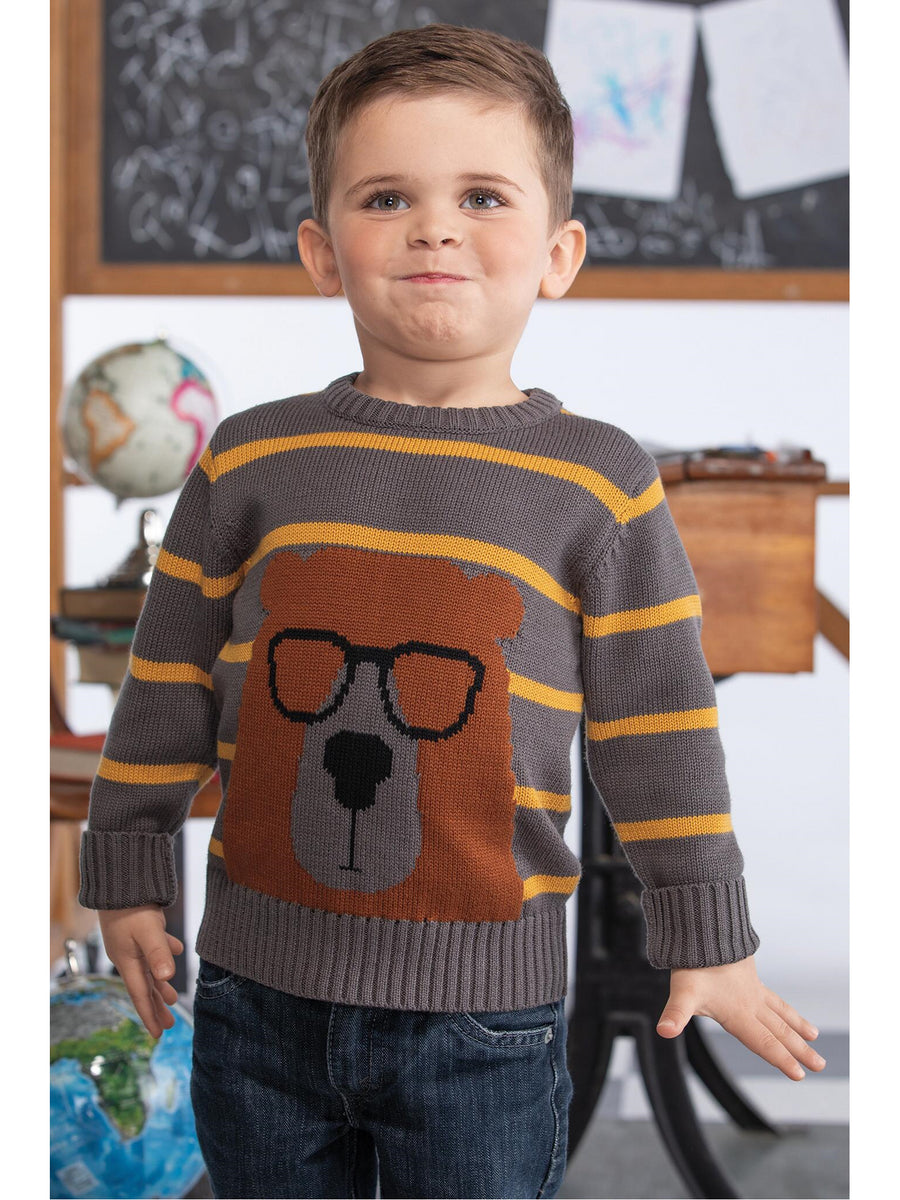 Boys Bespectacled Bear Striped Sweater