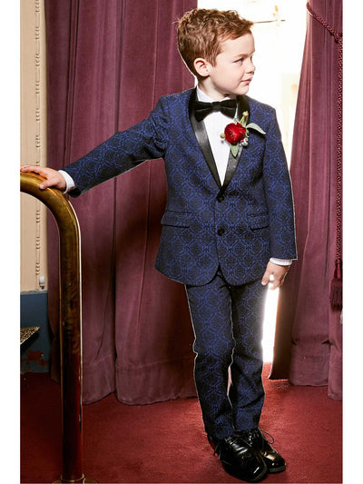 Boys Blue Brocade Suit  blu alt1