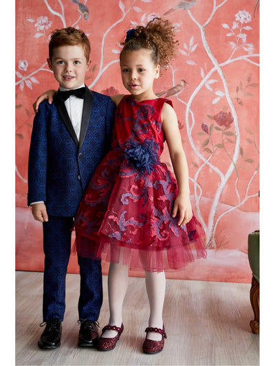 Boys Blue Brocade Suit  blu alt2