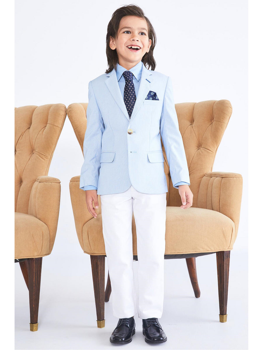 Boys Blue Railroad Stripe Blazer
