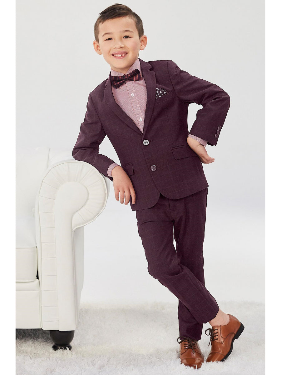 Boys Burgundy Plaid Mod Suit