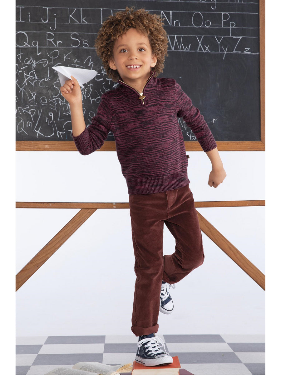 Boys Burgundy Skinny Corduroy Pants