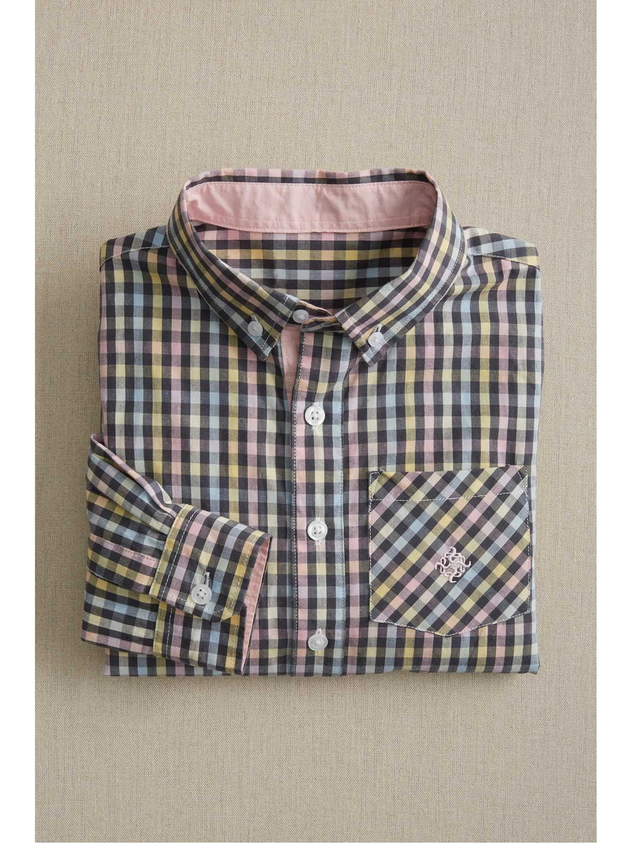 Boys Charcoal Plaid Shirt