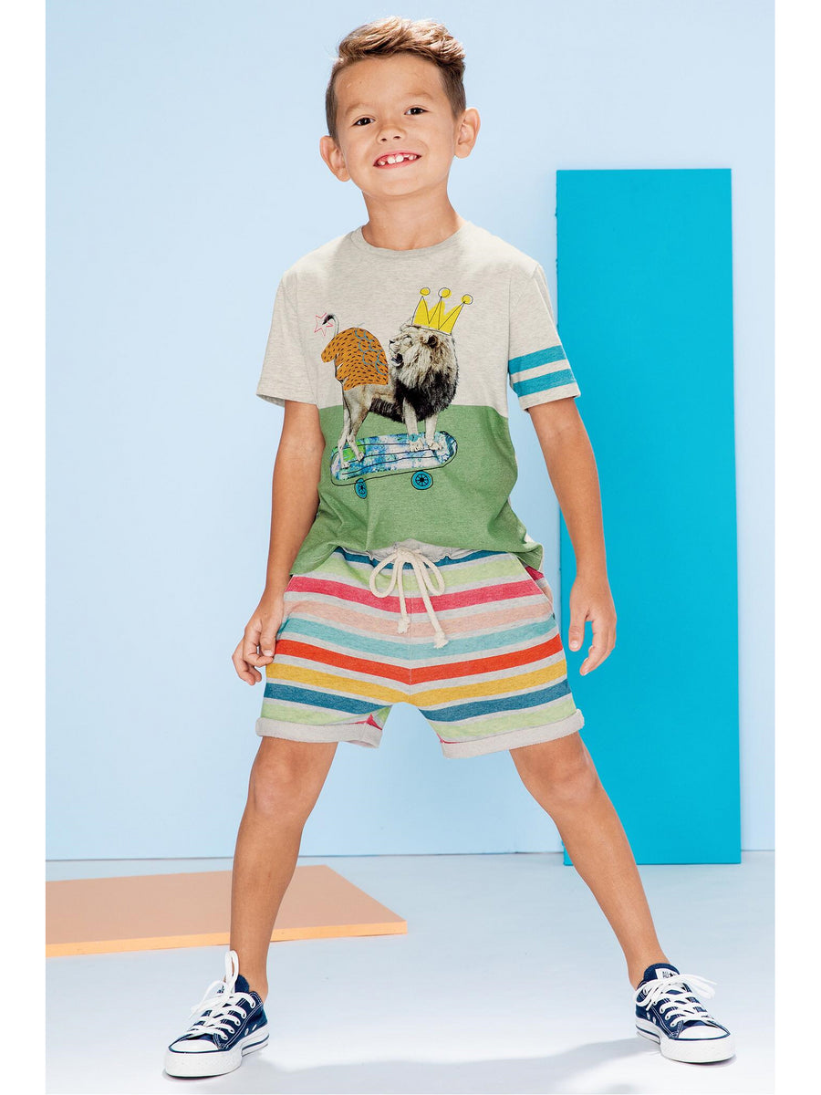 Boys Colorful Stripe Track Shorts