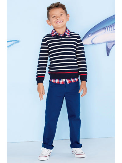 Boys Contrast Stripe V-Neck Sweater