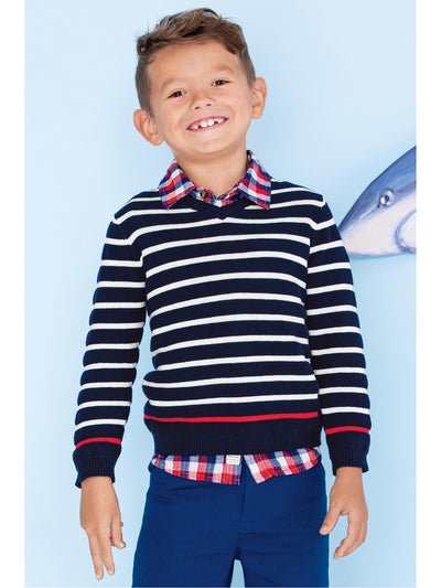 Boys Contrast Stripe V-Neck Sweater  nvg alt1
