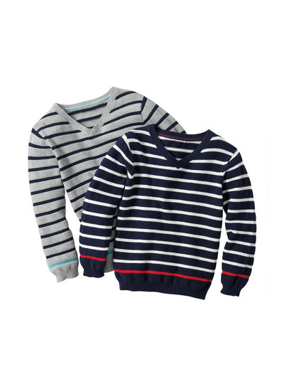 Boys Contrast Stripe V-Neck Sweater  nvg alt2