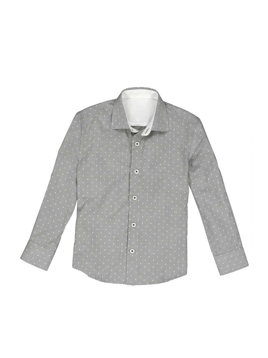 Boys Easy Care Square Dot Shirt