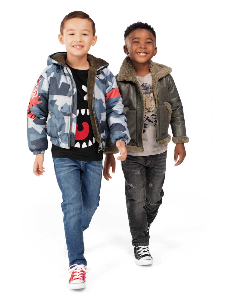 Boys Faux Shearling Aviator Jacket