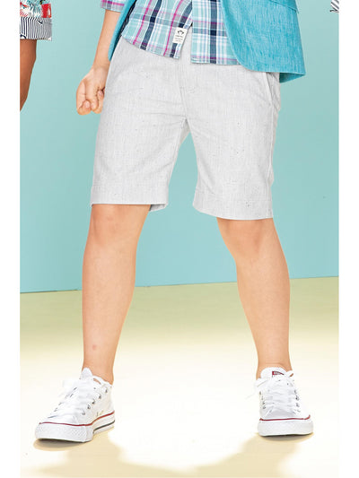 Boys Flat Front Tweed Shorts