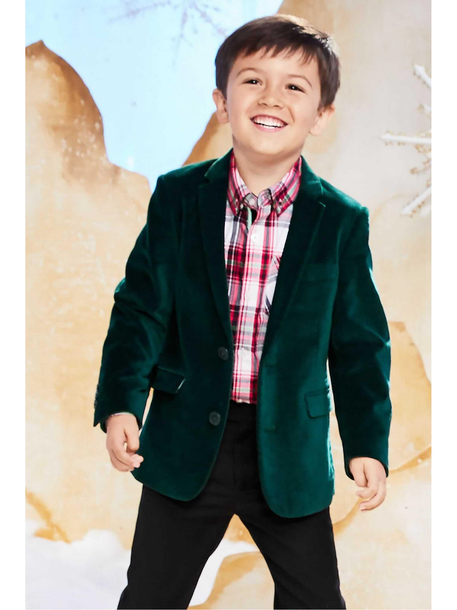 Boys Forest Green Velvet Blazer