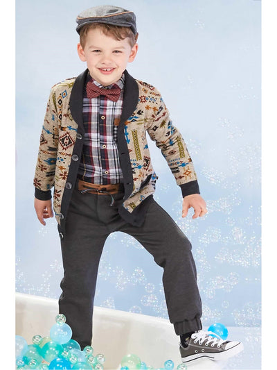 Boys Geometric Knit Cardigan  hgr alt1