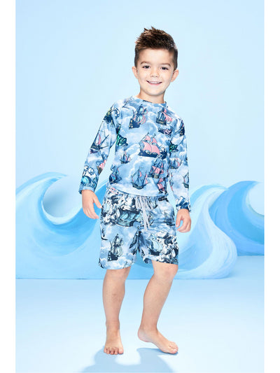 Boys High Seas Hijinks Rash Guard  blue alt1
