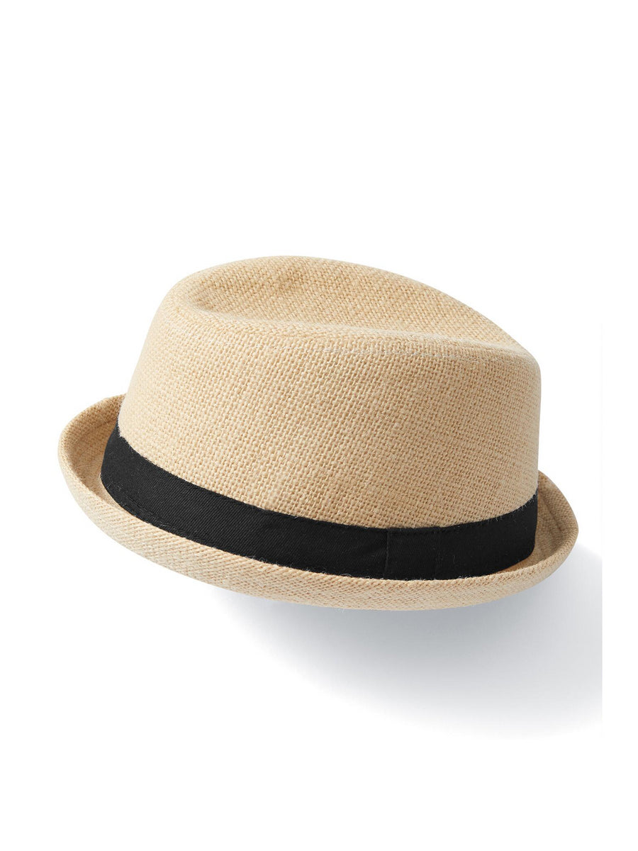 Boys Natural Linen Trilby Hat