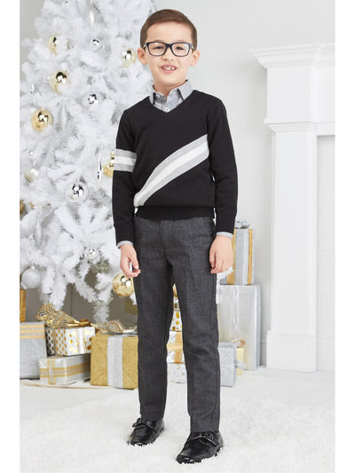 Boys One Stripe V-Neck Sweater