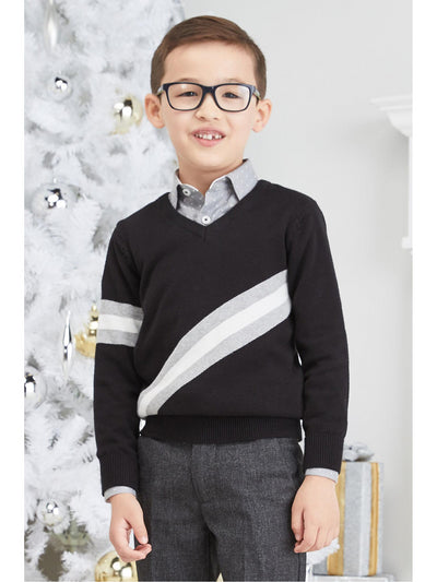 Boys One Stripe V-Neck Sweater  bk alt1