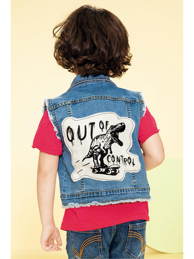 Boys Out of Control Denim Vest  dnmb alt1