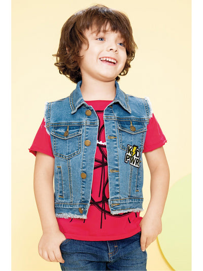 Boys Out of Control Denim Vest  dnmb alt2