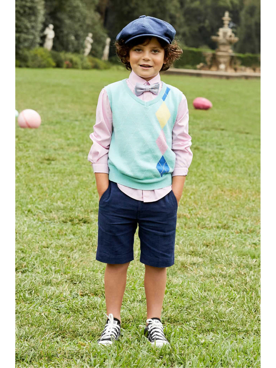 Boys Pastel Argyle Sweater Vest