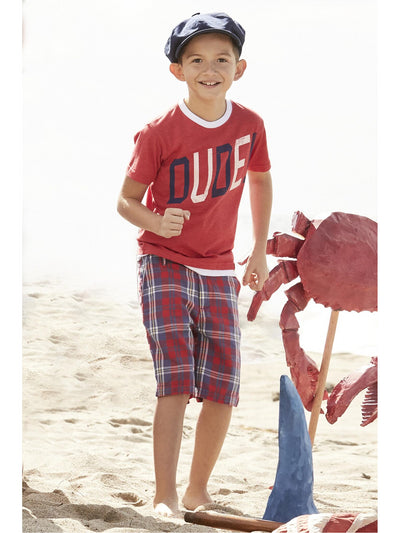 Boys Patriot Plaid Shorts  red alt1