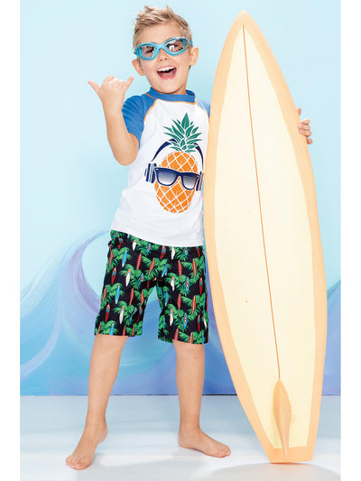 Boys Pineapple Headphones Rash Guard