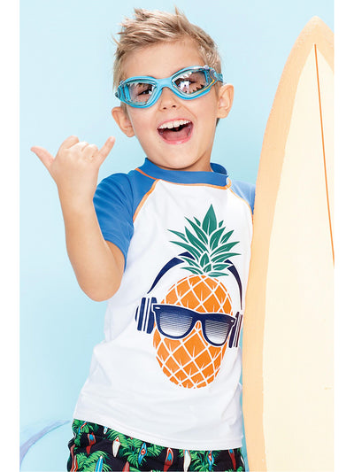 Boys Pineapple Headphones Rash Guard  grapm alt1