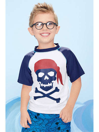 Boys Pirate Bones Rash Guard  nvbl alt1