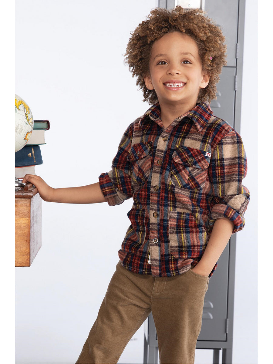 Boys Plaid Flannel Pocket Shirt