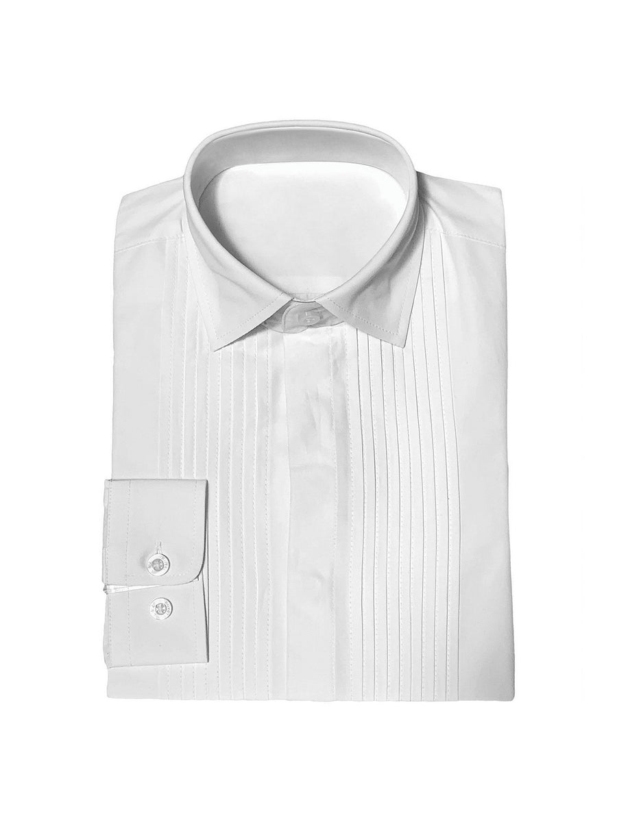 Boys Pleated Tuxedo Shirt