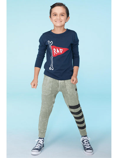 Boys Pocket Track Pants with Leg Stripes  actol alt1