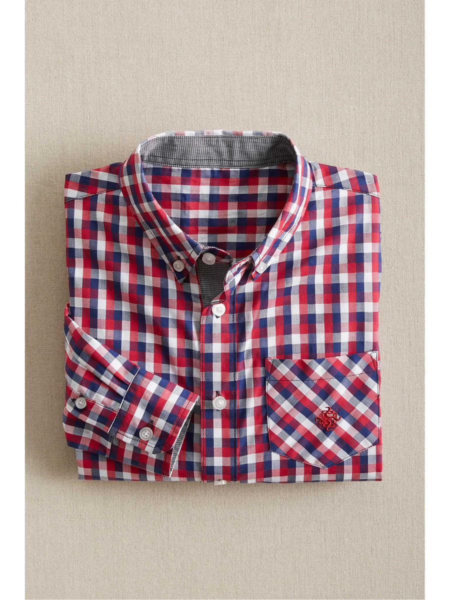Boys Red & Navy Check Dress Shirt