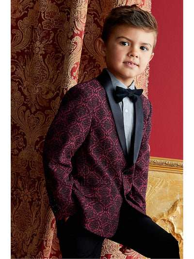 Boys Red Brocade Jacket  red alt1
